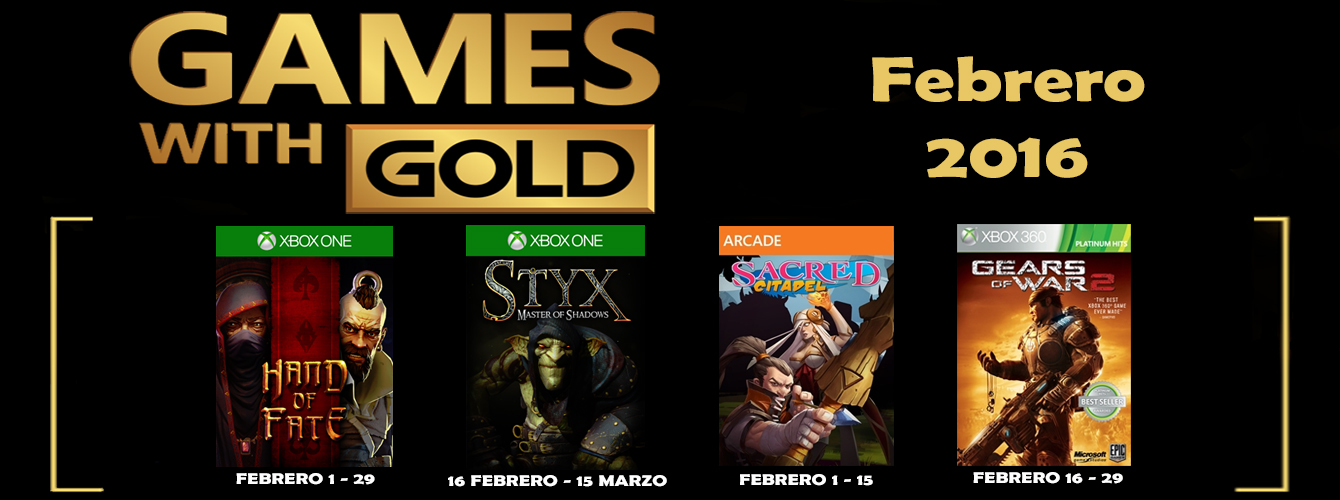 Games With Gold Febrero 2016 banner